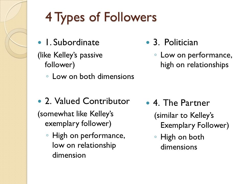 4 Types of Followers 1. Subordinate (like Kelley's passive follower) ◦ Low on both dimensions 2. Valued Contributor (somewhat like Kelley's exemplary
