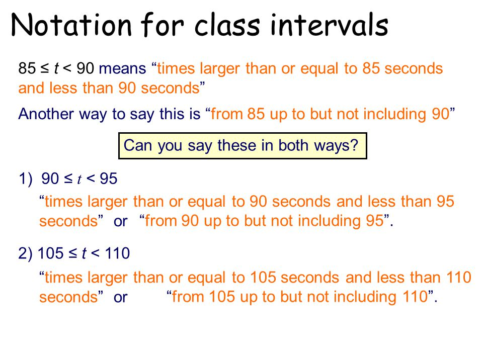 Notation for class intervals 85 ≤ t < 90 means times larger than or equal to 85 seconds and less than 90 seconds Another way to say this is from 85 up to but not including 90 Can you say these in both ways.