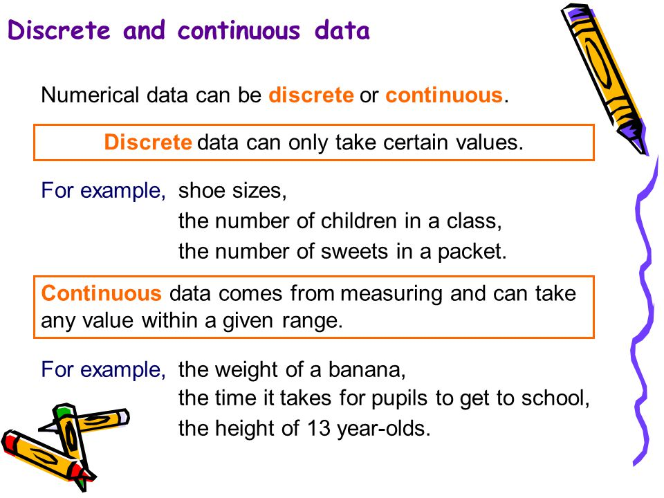 4 of 53 4 of 43 Discrete and continuous data Discrete data can only take certain values.
