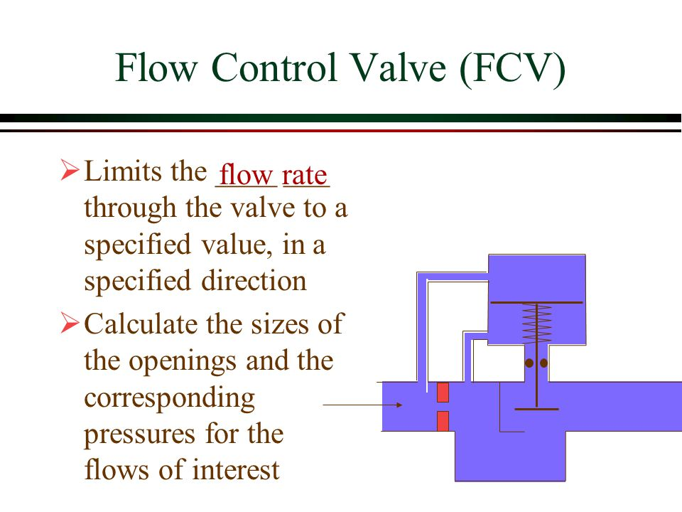 Flow Control Valve (FCV)  Limits the ____ ___ through the valve to a specified value, in a specified direction  Calculate the sizes of the openings
