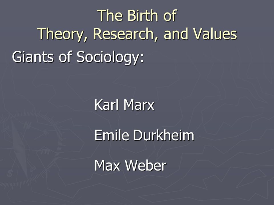 The Birth of Theory, Research, and Values Giants of Sociology: Karl Marx Emile Durkheim Max Weber
