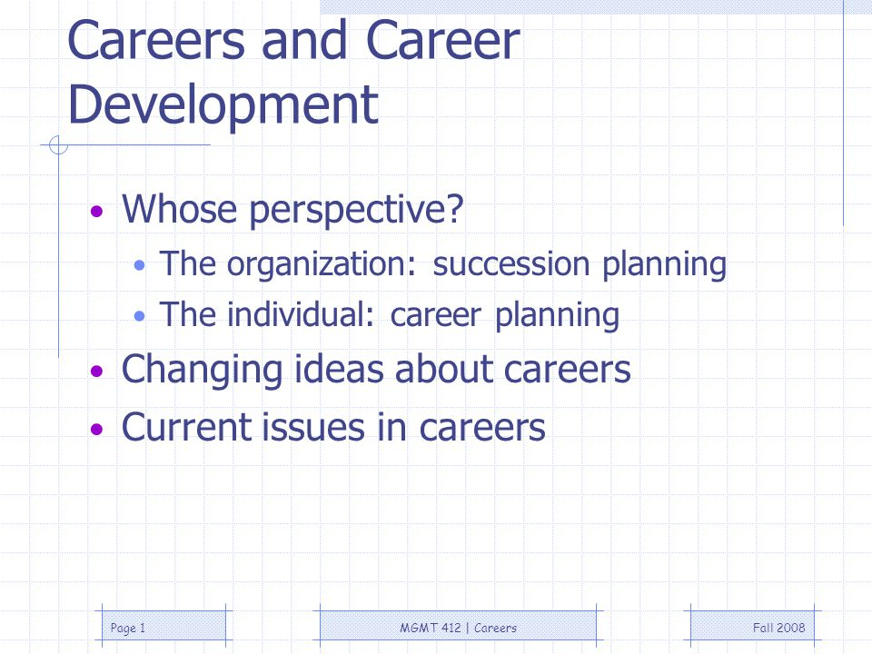 Fall 2008MGMT 412 | CareersPage 1 Careers and Career Development Whose perspective.