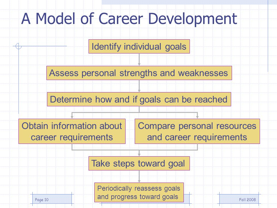 Fall 2008MGMT 412 | CareersPage 10 Take steps toward goal Periodically reassess goals and progress toward goals Identify individual goals Assess personal strengths and weaknesses Determine how and if goals can be reached Obtain information about career requirements Compare personal resources and career requirements A Model of Career Development