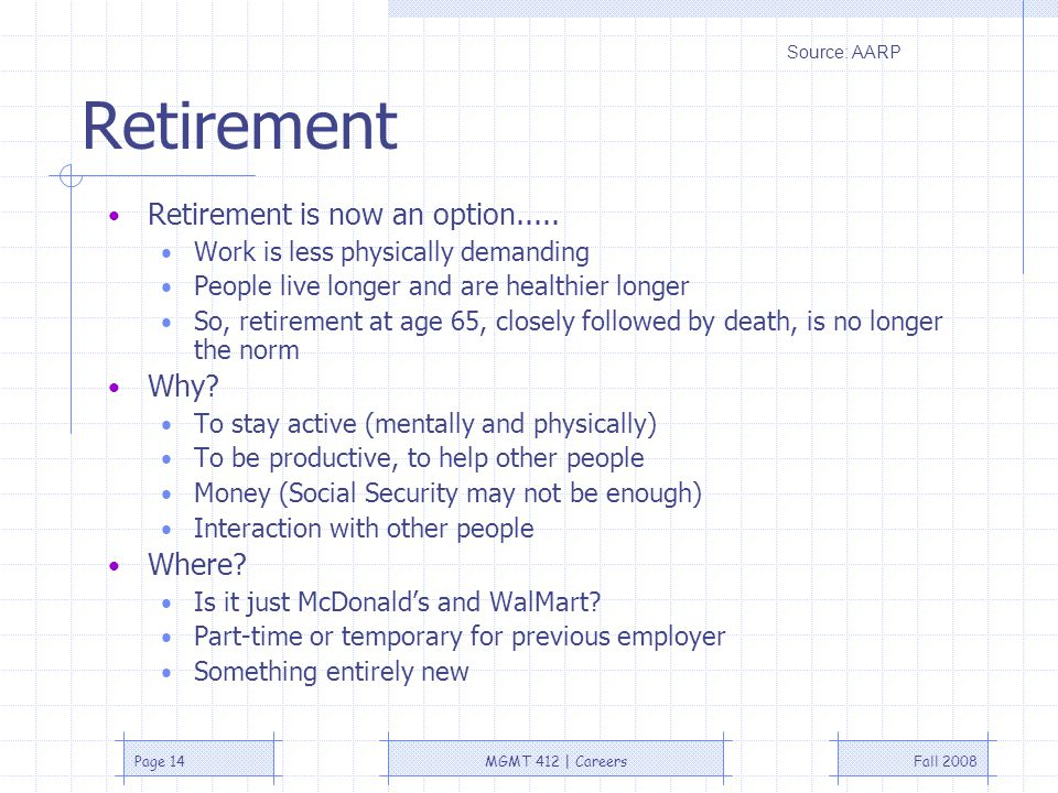 Fall 2008MGMT 412 | CareersPage 14 Retirement Retirement is now an option.....