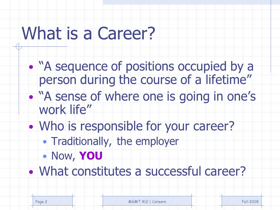 Fall 2008MGMT 412 | CareersPage 2 What is a Career.