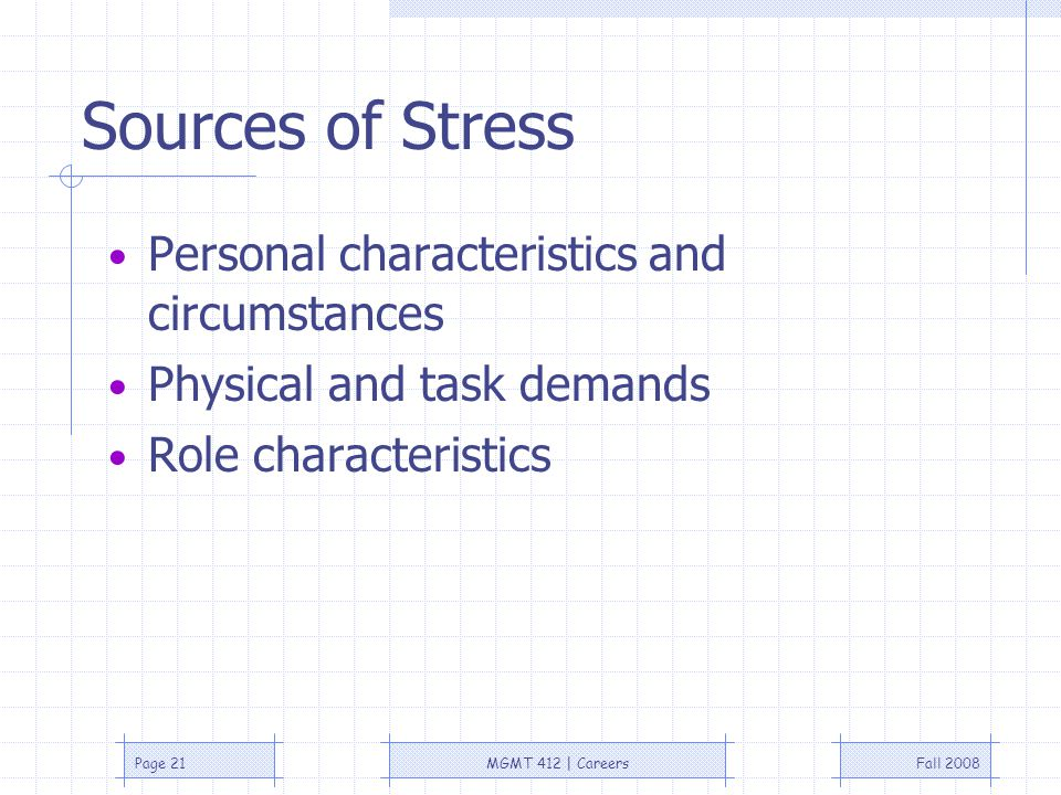 Fall 2008MGMT 412 | CareersPage 21 Sources of Stress Personal characteristics and circumstances Physical and task demands Role characteristics