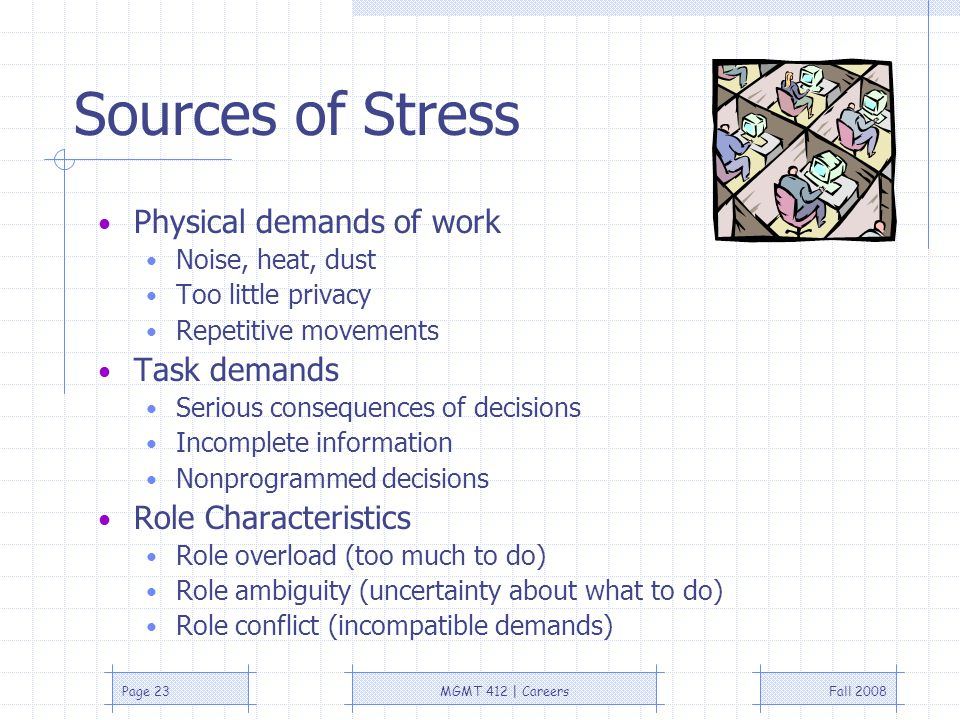 Fall 2008MGMT 412 | CareersPage 23 Sources of Stress Physical demands of work Noise, heat, dust Too little privacy Repetitive movements Task demands Serious consequences of decisions Incomplete information Nonprogrammed decisions Role Characteristics Role overload (too much to do) Role ambiguity (uncertainty about what to do) Role conflict (incompatible demands)