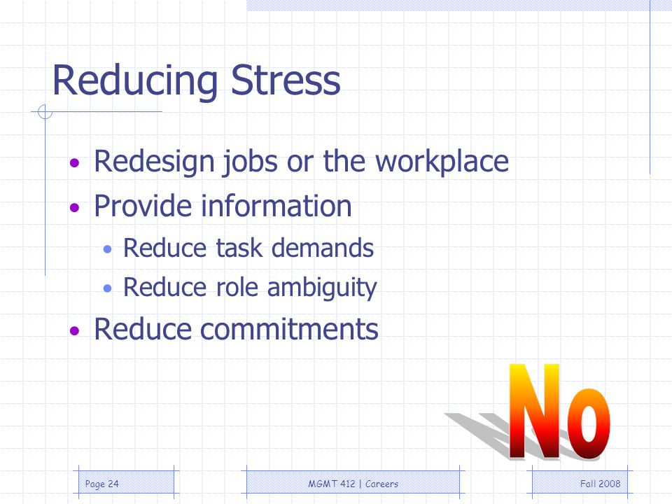 Fall 2008MGMT 412 | CareersPage 24 Reducing Stress Redesign jobs or the workplace Provide information Reduce task demands Reduce role ambiguity Reduce commitments