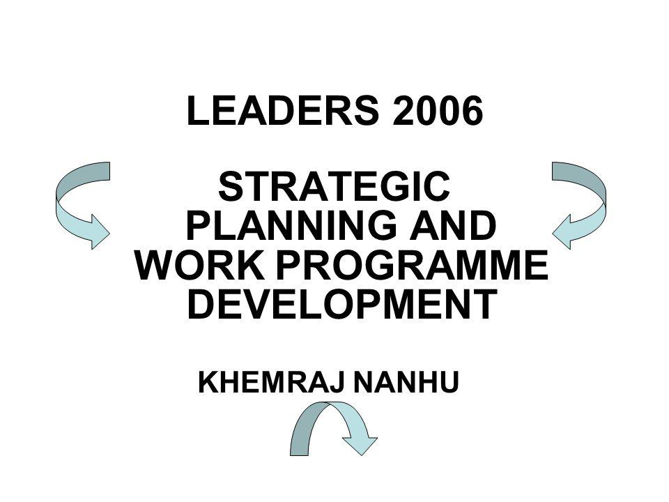 LEADERS 2006 STRATEGIC PLANNING AND WORK PROGRAMME DEVELOPMENT KHEMRAJ NANHU