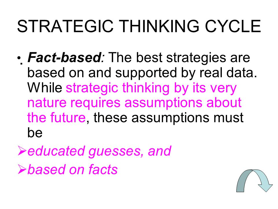 STRATEGIC THINKING CYCLE  Fact-based: The best strategies are based on and supported by real data.