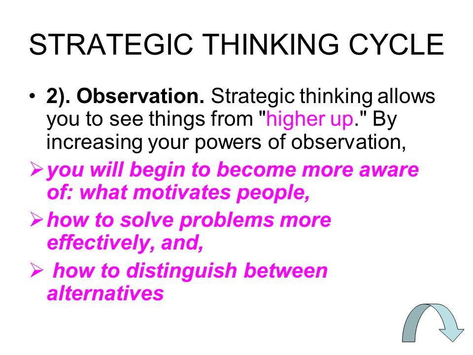 STRATEGIC THINKING CYCLE 2).Observation.