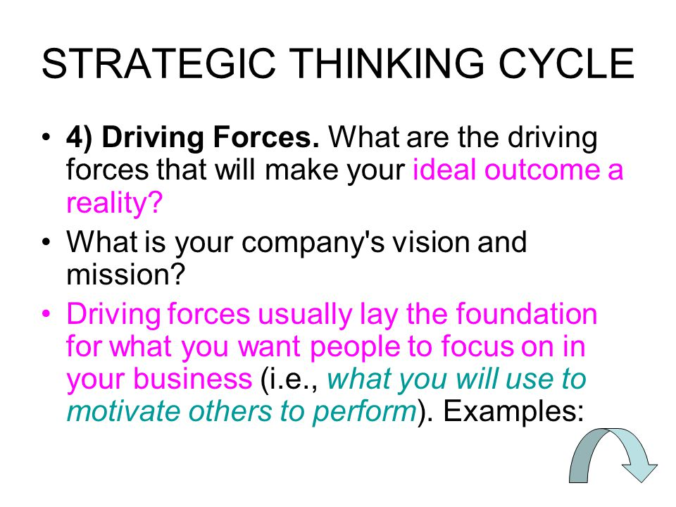 STRATEGIC THINKING CYCLE 4) Driving Forces.
