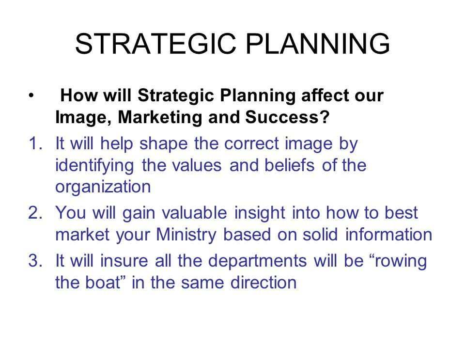 STRATEGIC PLANNING How will Strategic Planning affect our Image, Marketing and Success.