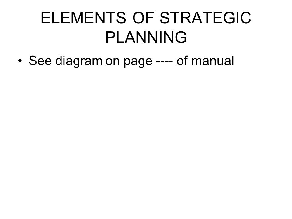 ELEMENTS OF STRATEGIC PLANNING See diagram on page ---- of manual