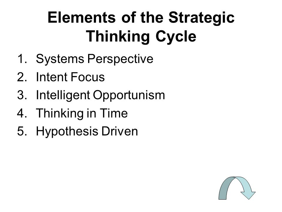 Elements of the Strategic Thinking Cycle 1.Systems Perspective 2.Intent Focus 3.Intelligent Opportunism 4.Thinking in Time 5.Hypothesis Driven