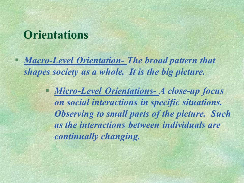 Orientations §Macro-Level Orientation- The broad pattern that shapes society as a whole.