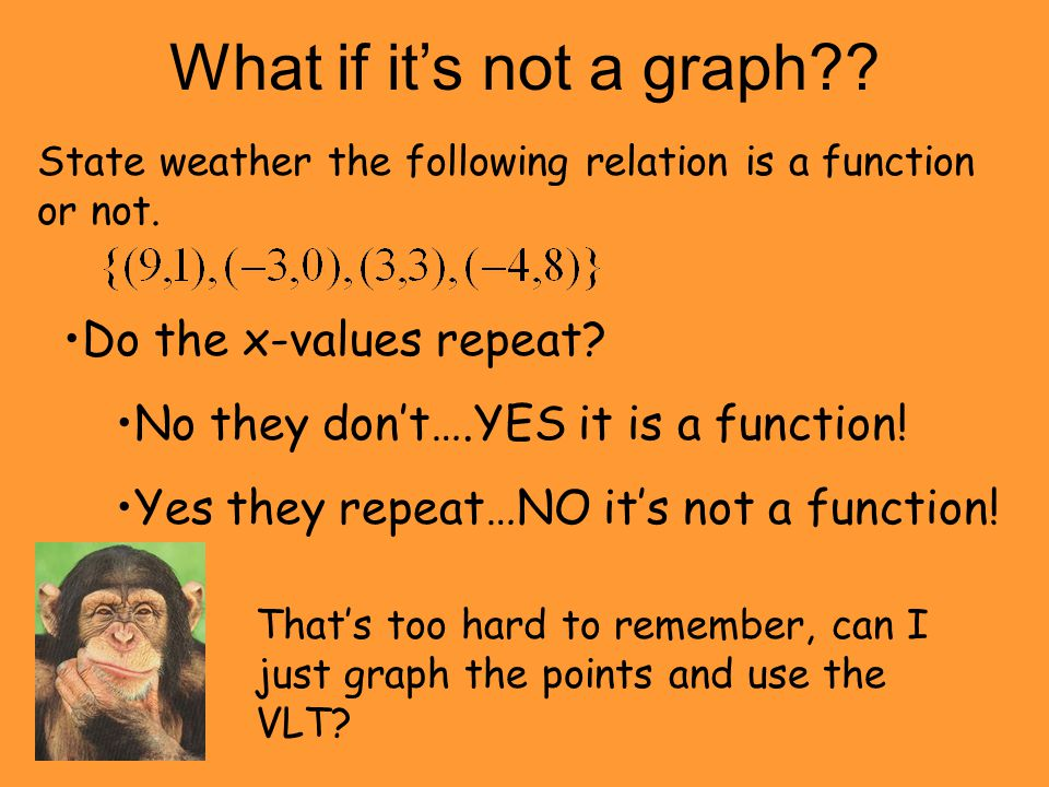 What if it's not a graph?? State weather the following relation is a function or not. Do the x-values repeat? No they don't….YES it is a function! Yes