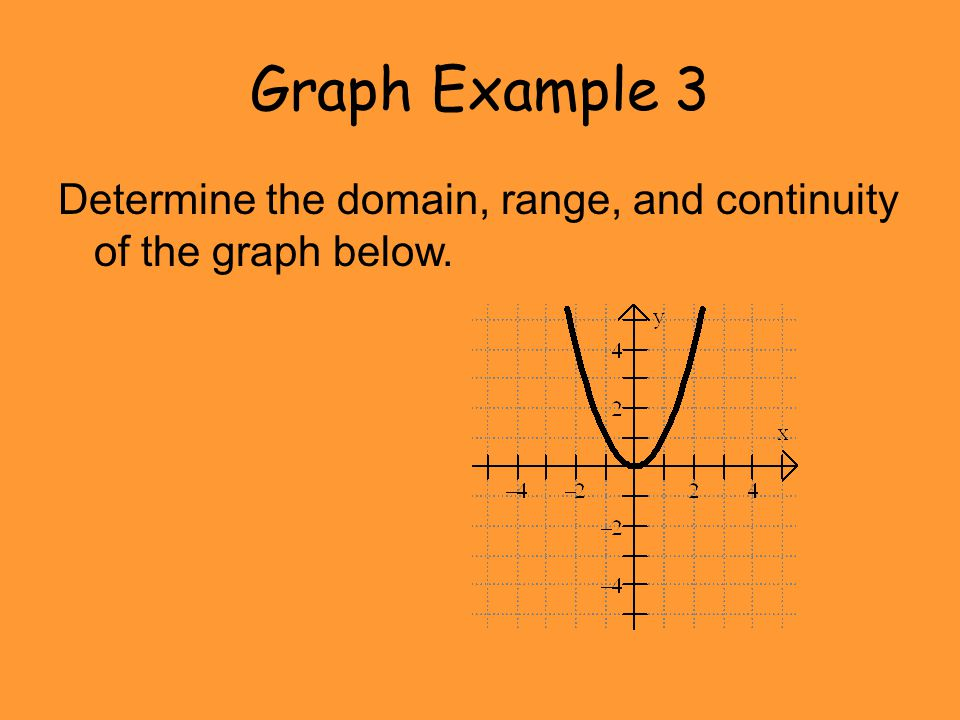 Graph Example 3 Determine the domain, range, and continuity of the graph below.