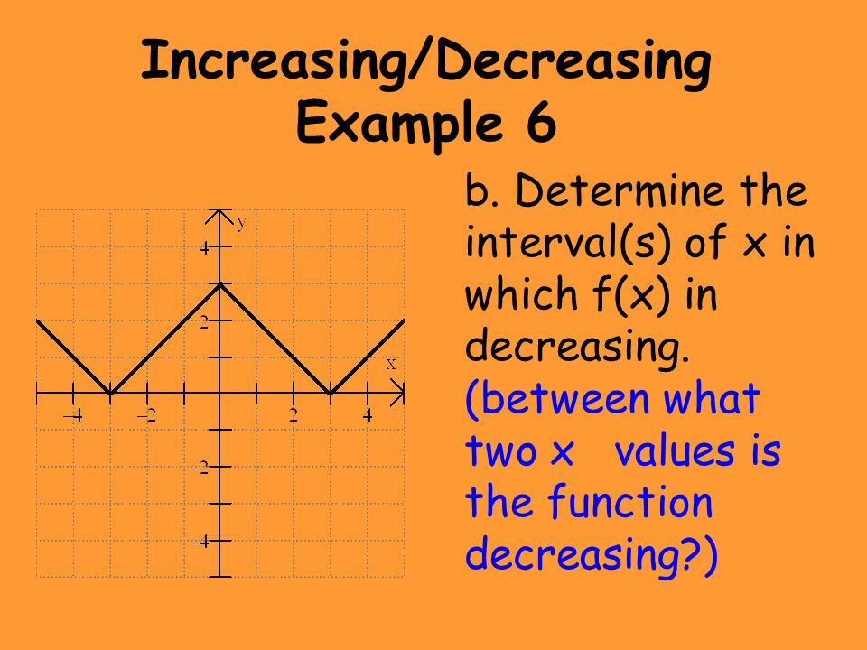 Increasing/Decreasing Example 6 b. Determine the interval(s) of x in which f(x) in decreasing. (between what two x values is the function decreasing?)
