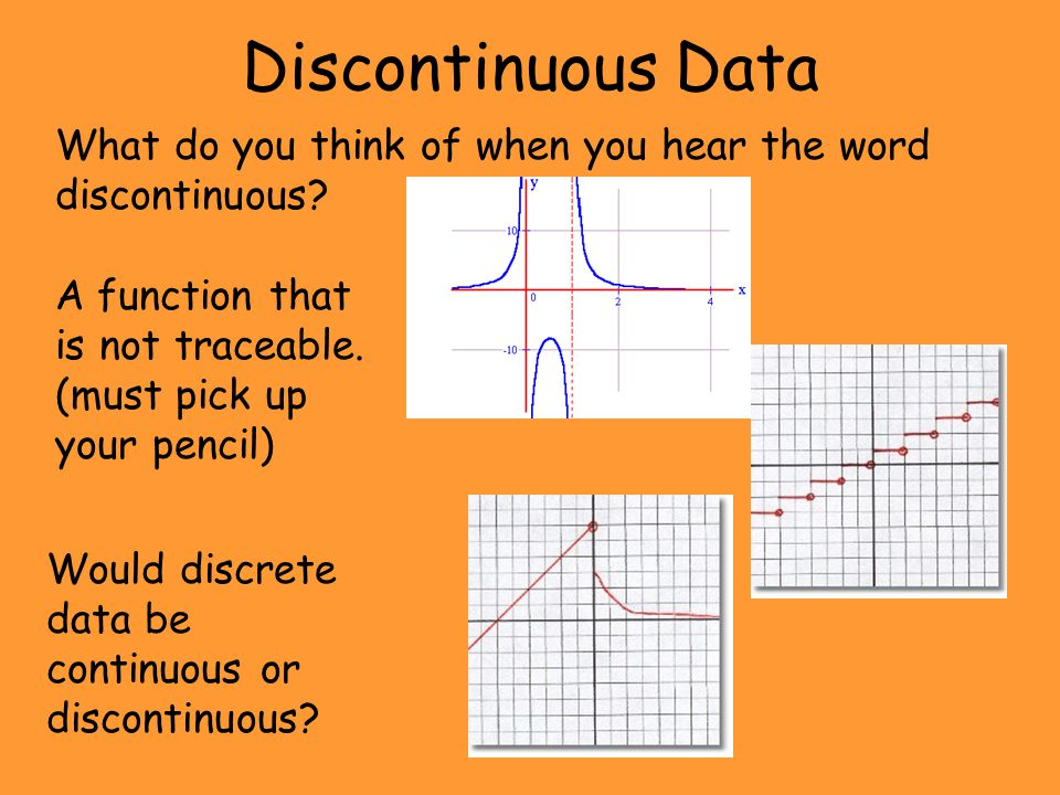 Discontinuous Data What do you think of when you hear the word discontinuous? A function that is not traceable. (must pick up your pencil) Would discr