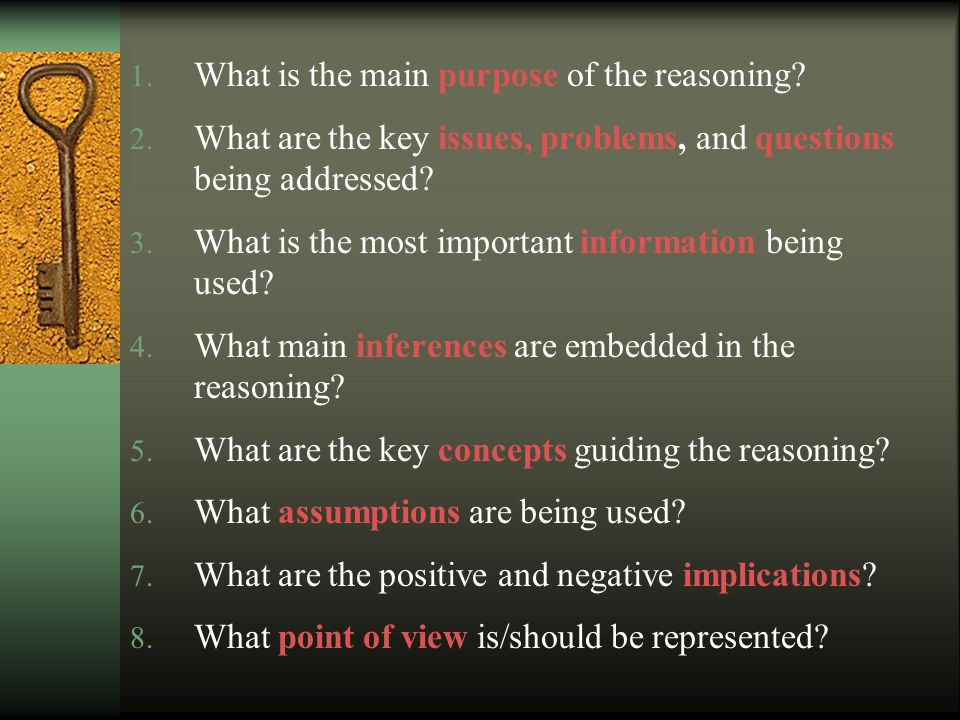 Eight Questions Students Can Routinely Ask when They Have Constructed the Concept of the Elements of Reasoning In Their Thinking