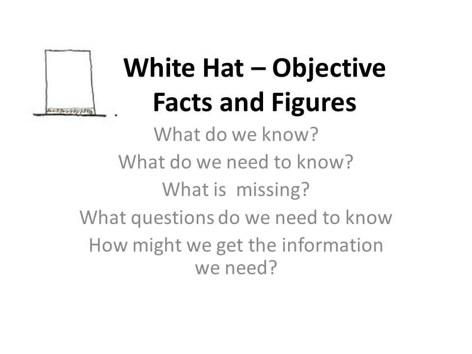 White Hat – Objective Facts and Figures What do we know? What do we need to know? What is missing? What questions do we need to know How might we get
