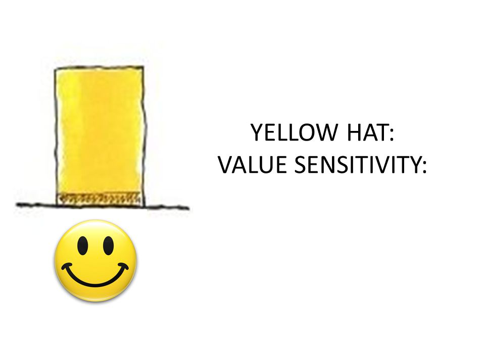YELLOW HAT: VALUE SENSITIVITY: