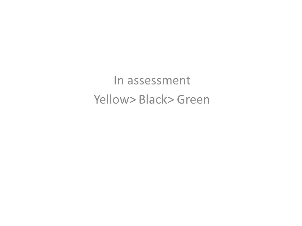 In assessment Yellow> Black> Green