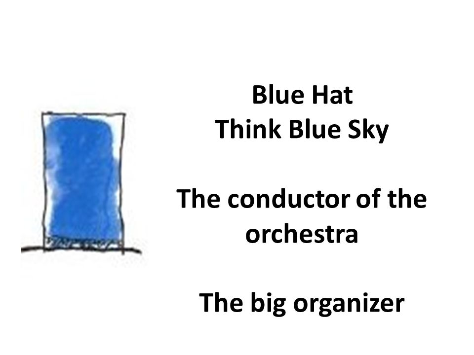 Blue Hat Think Blue Sky The conductor of the orchestra The big organizer
