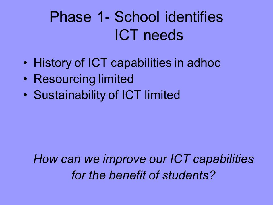 Phase 1- School identifies ICT needs History of ICT capabilities in adhoc Resourcing limited Sustainability of ICT limited How can we improve our ICT capabilities for the benefit of students