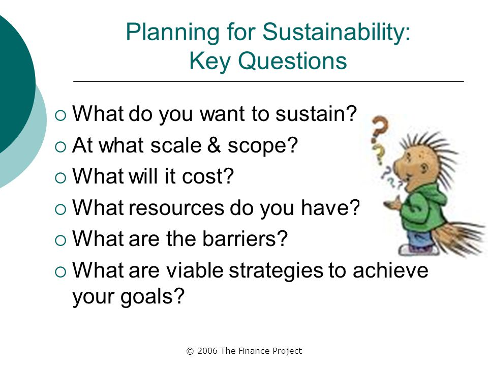 © 2006 The Finance Project Planning for Sustainability: Key Questions  What do you want to sustain.
