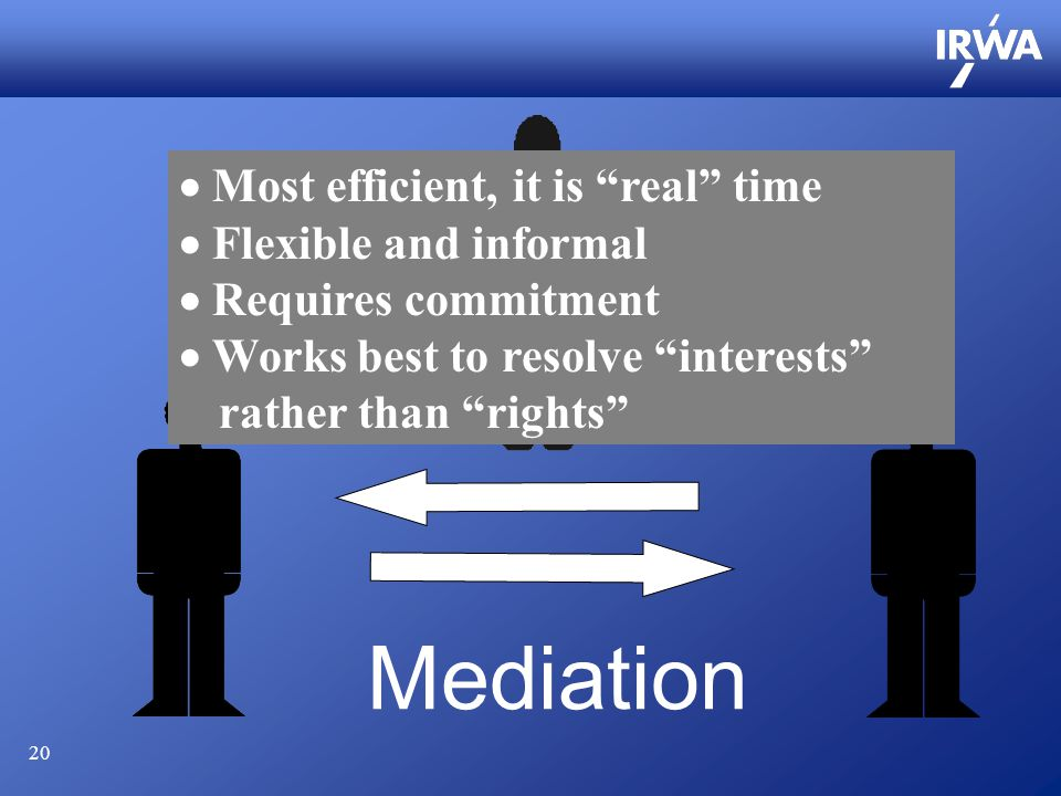 20 Mediation  Most efficient, it is real time  Flexible and informal  Requires commitment  Works best to resolve interests rather than rights