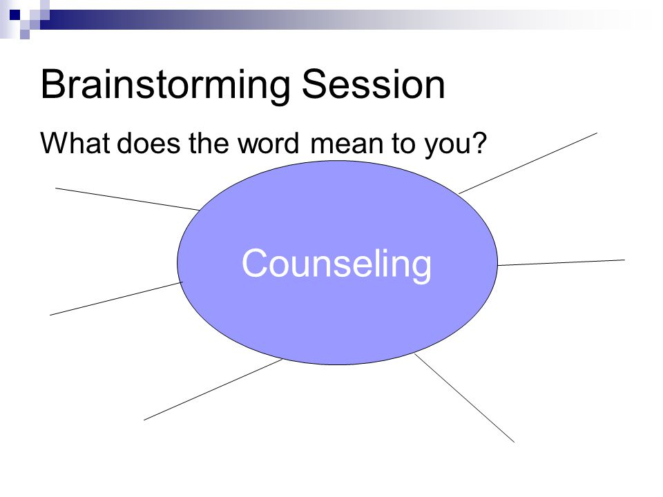 Brainstorming Session What does the word mean to you? Counseling