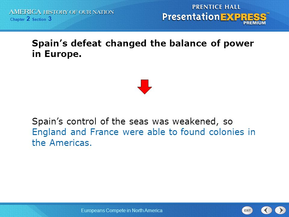 Chapter 2 Section 3 Europeans Compete in North America Spain's defeat changed the balance of power in Europe.
