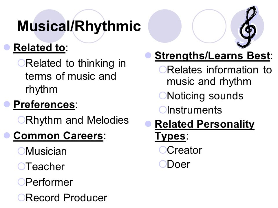 Musical/Rhythmic Related to:  Related to thinking in terms of music and rhythm Preferences:  Rhythm and Melodies Common Careers:  Musician  Teache
