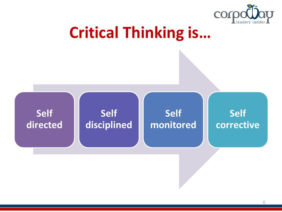 Critical Thinking is… Self directed Self disciplined Self monitored Self corrective 6