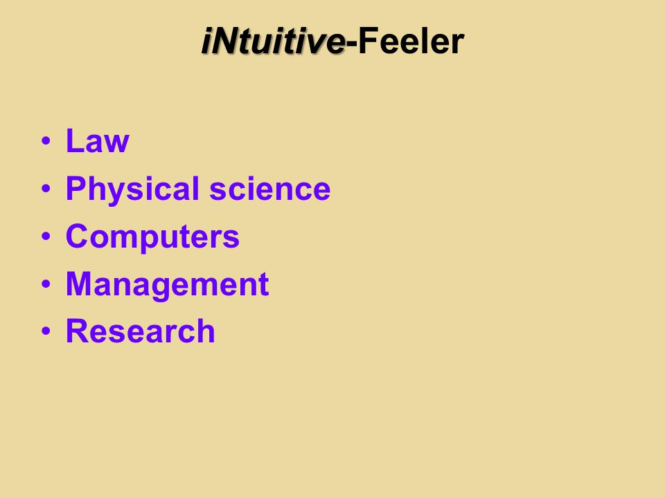 iNtuitive iNtuitive-Feeler Law Physical science Computers Management Research