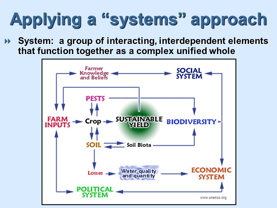 Applying a systems approach  System: a group of interacting, interdependent elements that function together as a complex unified whole www.unesco.org