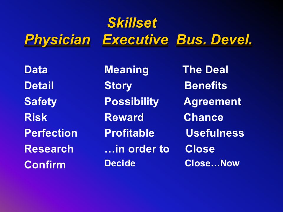 Skillset Physician Executive Bus.Devel.