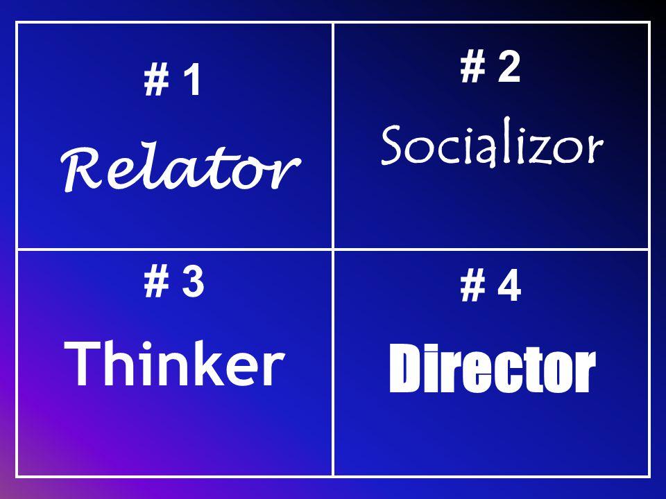 # 1 Relator # 2 Socializor # 3 Thinker # 4 Director