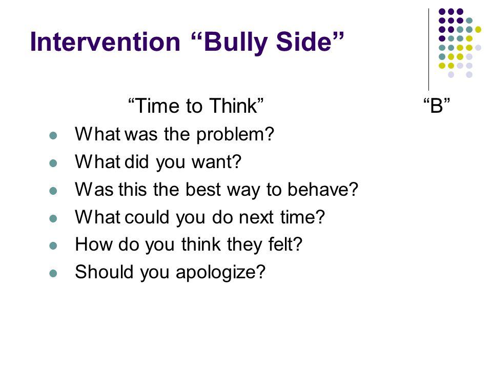 Intervention Bully Side Time to Think B What was the problem.