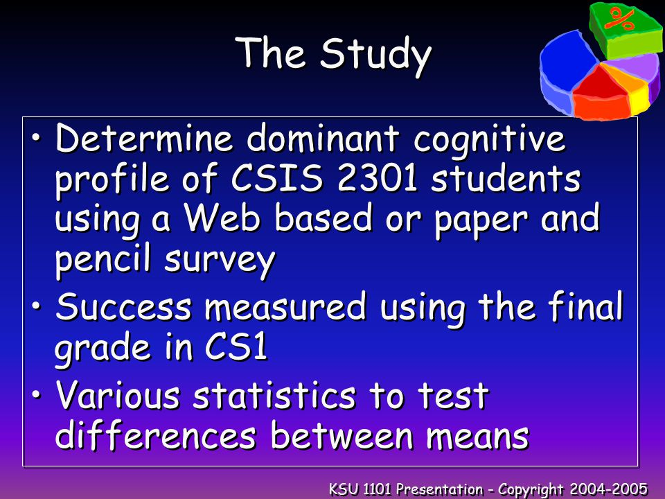 KSU 1101 Presentation - Copyright 2004-2005 The Study Determine dominant cognitive profile of CSIS 2301 students using a Web based or paper and pencil survey Success measured using the final grade in CS1 Various statistics to test differences between means Determine dominant cognitive profile of CSIS 2301 students using a Web based or paper and pencil survey Success measured using the final grade in CS1 Various statistics to test differences between means