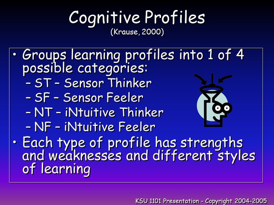 KSU 1101 Presentation - Copyright 2004-2005 Cognitive Profiles (Krause, 2000) Groups learning profiles into 1 of 4 possible categories: –ST – Sensor Thinker –SF – Sensor Feeler –NT – iNtuitive Thinker –NF – iNtuitive Feeler Each type of profile has strengths and weaknesses and different styles of learning Groups learning profiles into 1 of 4 possible categories: –ST – Sensor Thinker –SF – Sensor Feeler –NT – iNtuitive Thinker –NF – iNtuitive Feeler Each type of profile has strengths and weaknesses and different styles of learning