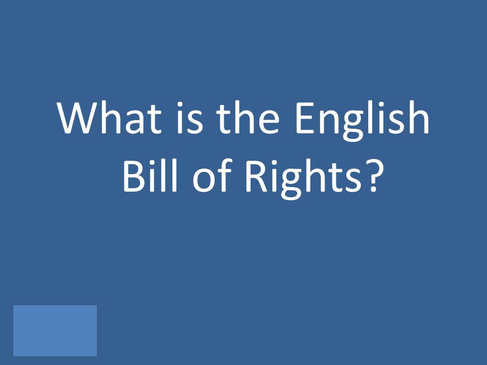 What is the English Bill of Rights