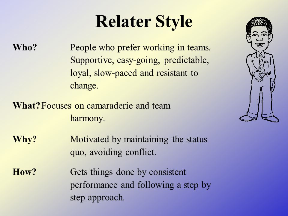 Relater Style Who?People who prefer working in teams. Supportive, easy-going, predictable, loyal, slow-paced and resistant to change. What?Focuses on