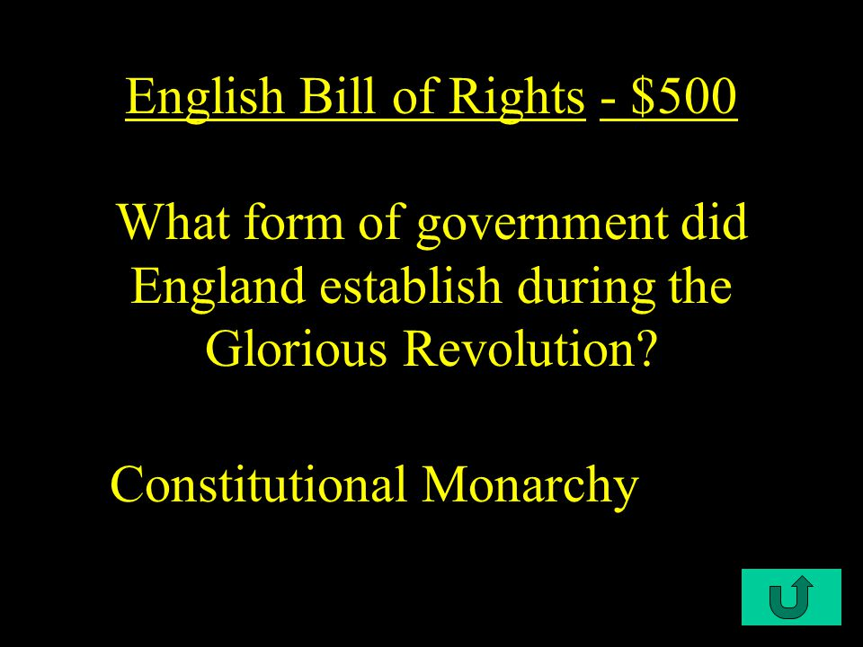 C2-$400 English Bill of Rights - $400 All of the following are true for the English Revolution, American Revolution, and French Revolution EXCEPT B.
