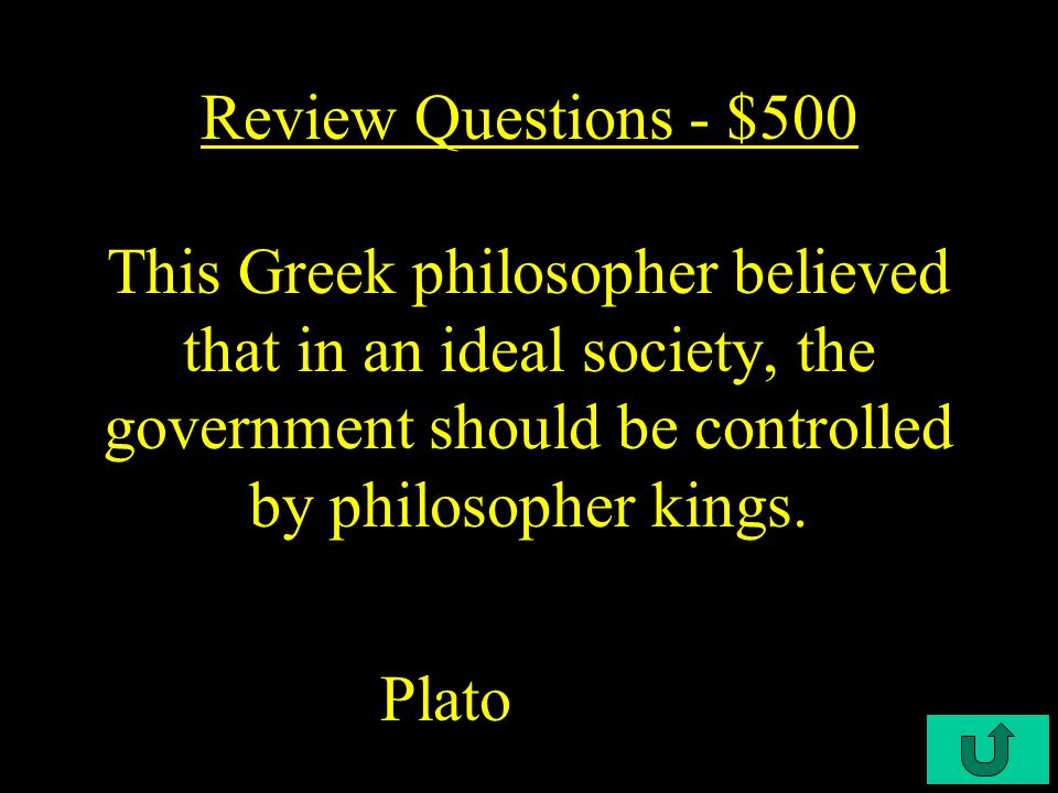 C4-$400 Review Questions - $400 This ancient civilization created the first direct democracy.