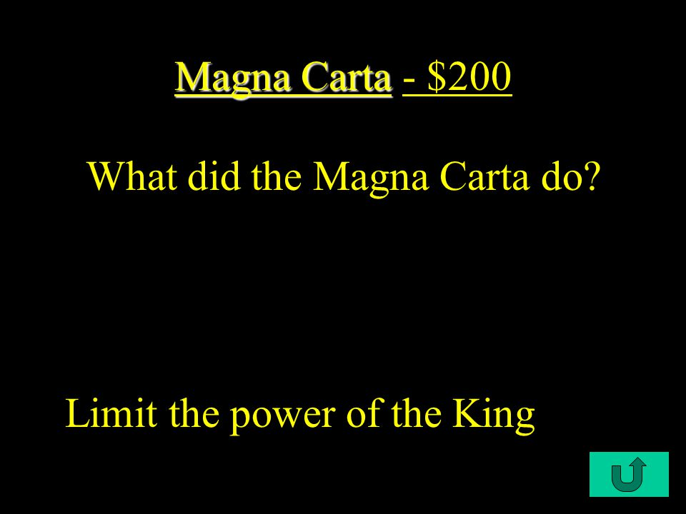 C1-$100 Magna Carta Magna Carta - $100 England's monarchy began to lose its power when King John was forced by English nobles to sign this document.
