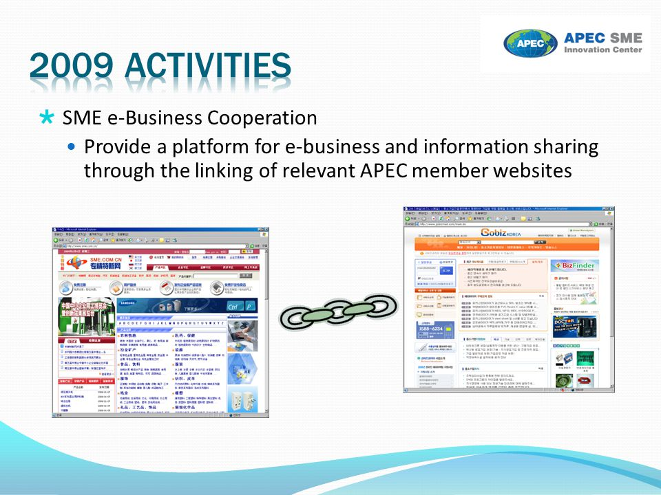  SME e-Business Cooperation Provide a platform for e-business and information sharing through the linking of relevant APEC member websites
