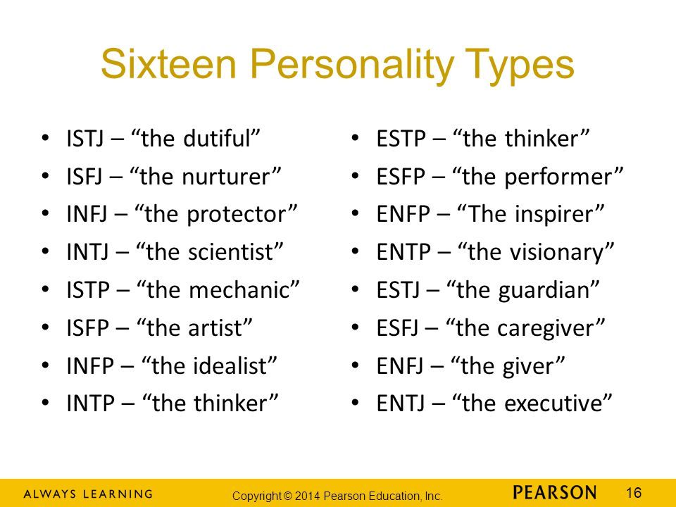 "Copyright © 2014 Pearson Education, Inc. 16 Sixteen Personality Types ISTJ – ""the dutiful"" ISFJ – ""the nurturer"" INFJ – ""the protector"" INTJ – ""the sc"